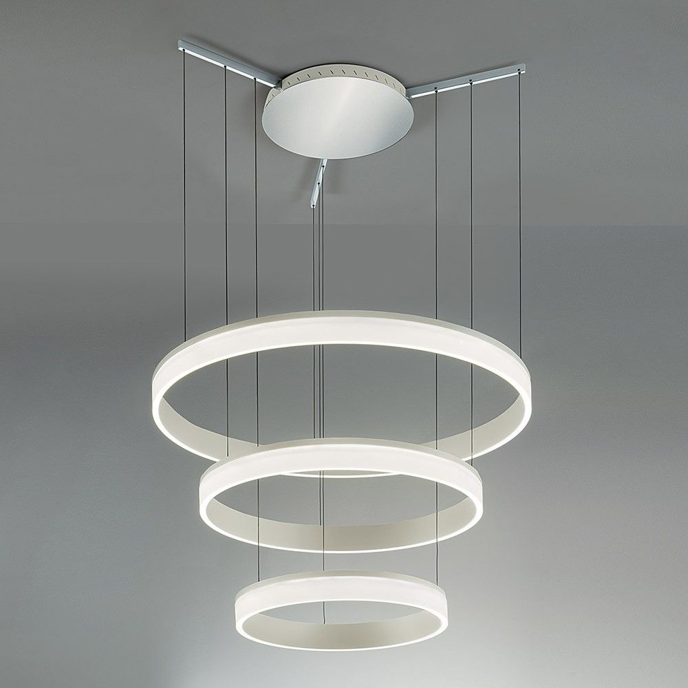 Contemporary Aluminium Ceiling Pendant With Three Tiers And An Opaque Acrylic Diffuser From