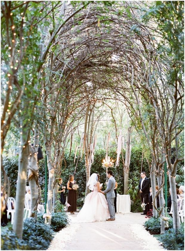 Enchanting Garden Wedding with twinkle lights and a floral ...