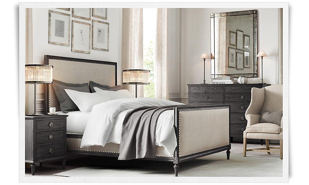 maison bed in antiqued blackrestoration hardware