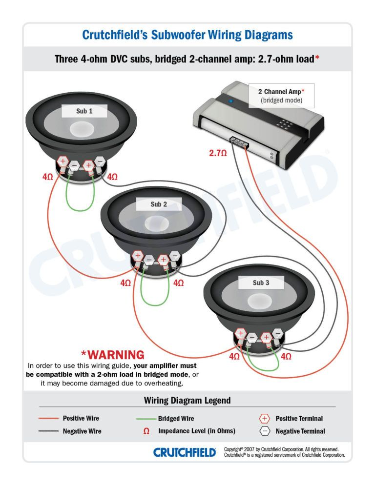 subwoofer wiring diagrams and dual 1 ohm diagram  subwoofer