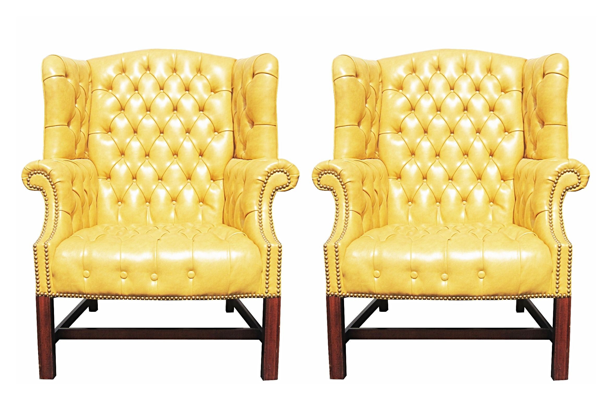 Pair of Wormley Style Wingback Chairs in Yellow Naugahyde