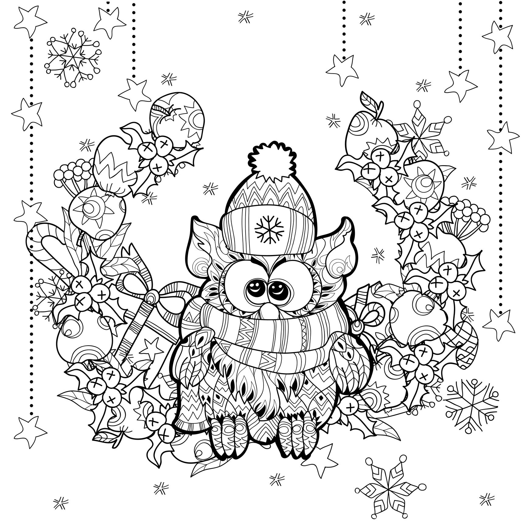 Coloring Zentangle Christmas Owl By Irina Yazeva From The Gallery Events Owl Coloring Pages Printable Christmas Coloring Pages Santa Coloring Pages