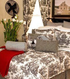 French Country Toile Bedding In Black French Country Bedrooms