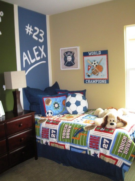 Bedroom Design Fantastic Boys Room Paint Ideas Also Wall To Wall Carpeting Also Bed With Blue Bedspread And Various Sports Themed Bedroom Kids Bedroom Designs