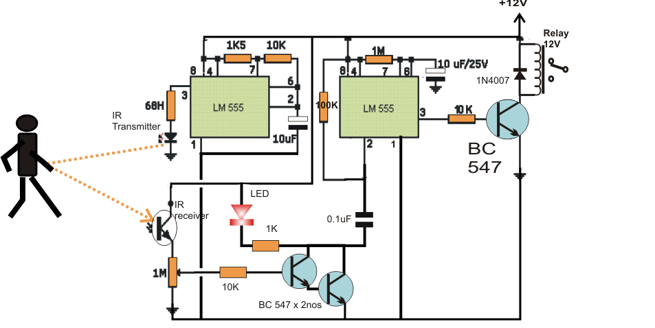 Ic 555 Timer Pin Diagram moreover Basic Theory Ic 555 in addition Clap Operated Switch Circuit in addition 555 timer as well The Pir Movement Detector With Light Activated. on 556 timer circuits schematics