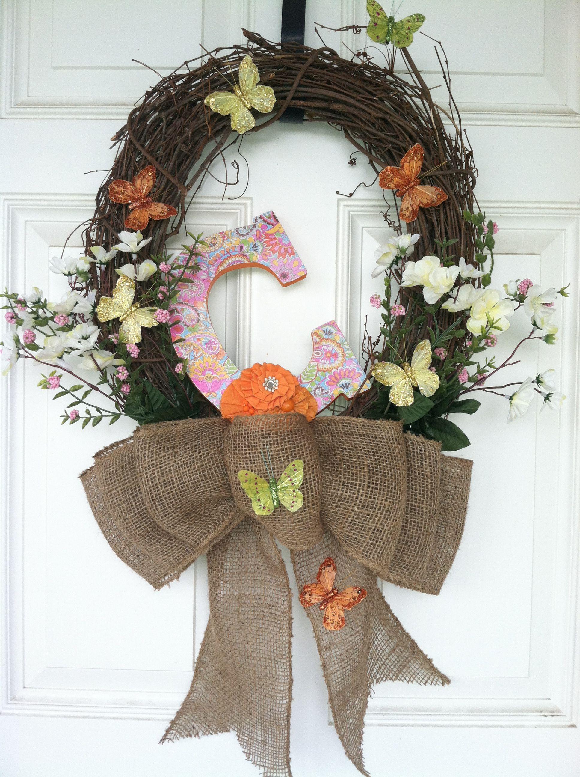 Burlap front door wreath