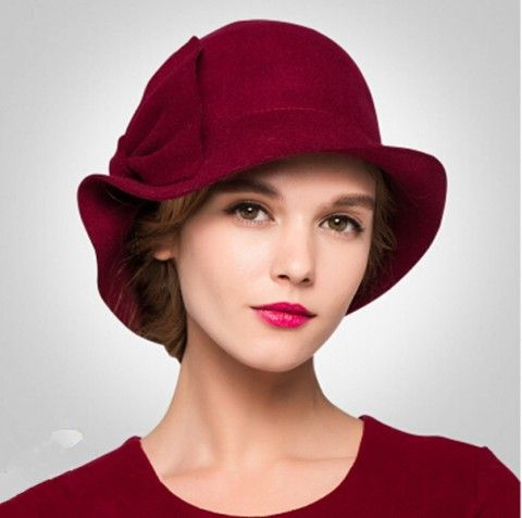 6413fcc0a8bcbe Elegance bow bowler hat for women winter curling trilby wool hats ...