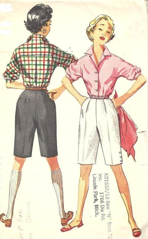 Simplicity 4746 VINTAGE 50s BERMUDA SHORTS BLOUSE TOP Sewing Pattern ...