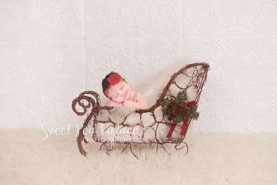 Newborn Baby Child Photography Prop DIGITAL Backdrop for Photographers -Christmas Holiday - RUSTIC SLEIGH
