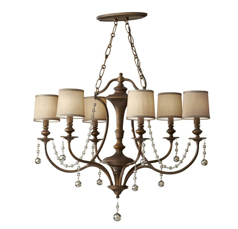 Murray feiss f2726 6 clarissa 6 light chandelier with beaded accents firenze gold indoor lighting