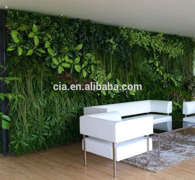 Fake Hanging Thick Leafy Artificial Fence Screens Plastic Grass Wall