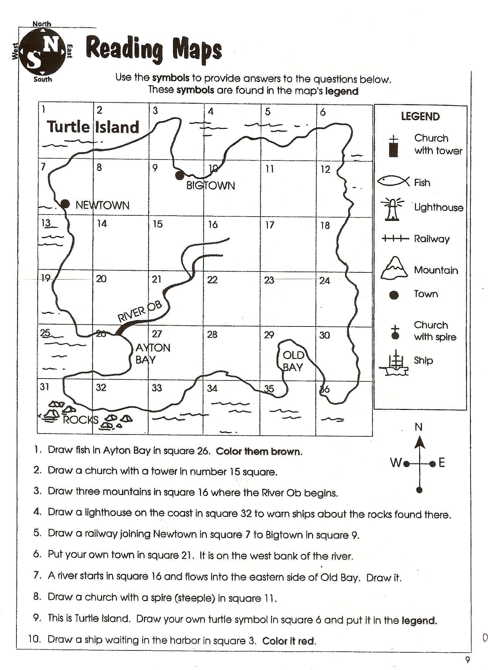 Landforms Map Worksheet Geography