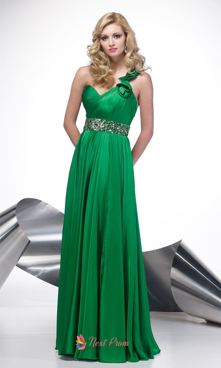 Green dress prom  Kelly Green Bridesmaid Dresses Green One Shoulder Prom Dress