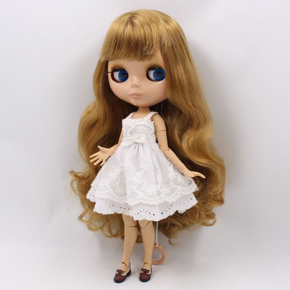 Blythe Nude Doll from Factory Long Golden Curly Hair Part Hair
