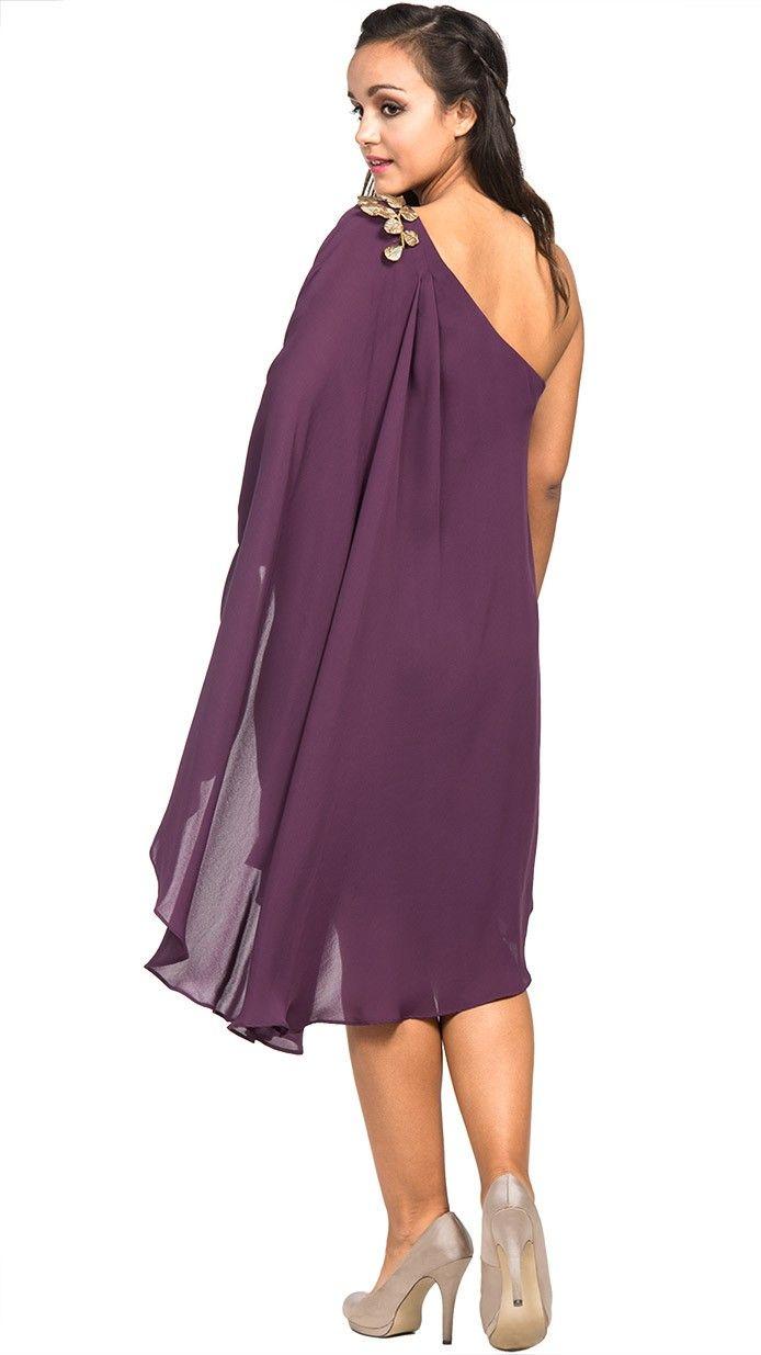 alquiler vestido tunica morado invitada de dia | Vestidos cortos ...