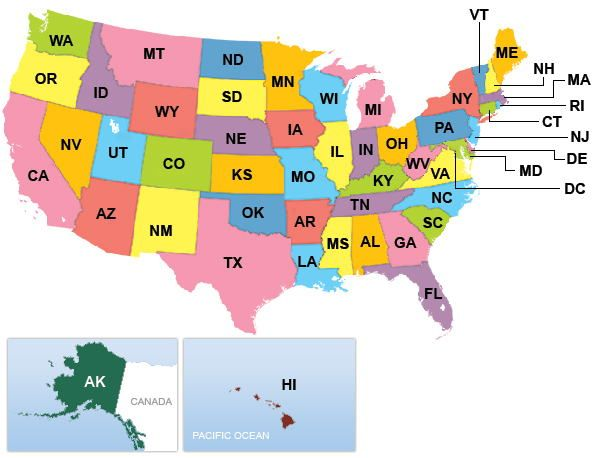51 rows· this is a list of postal code abbreviations used by the united states postal service.they are … United States List Of State Abbreviations And Capitals Science Struck State Abbreviations Us Map Printable Us State Map
