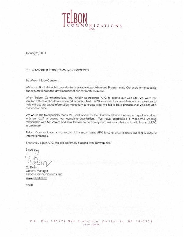 Business Recommendation Letter For A Company Letter Pinterest - example of reference page for resume
