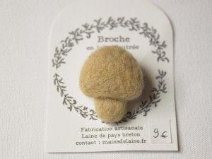 broche-champignon-jaune- AtelierMainsDeLaine sur etsy