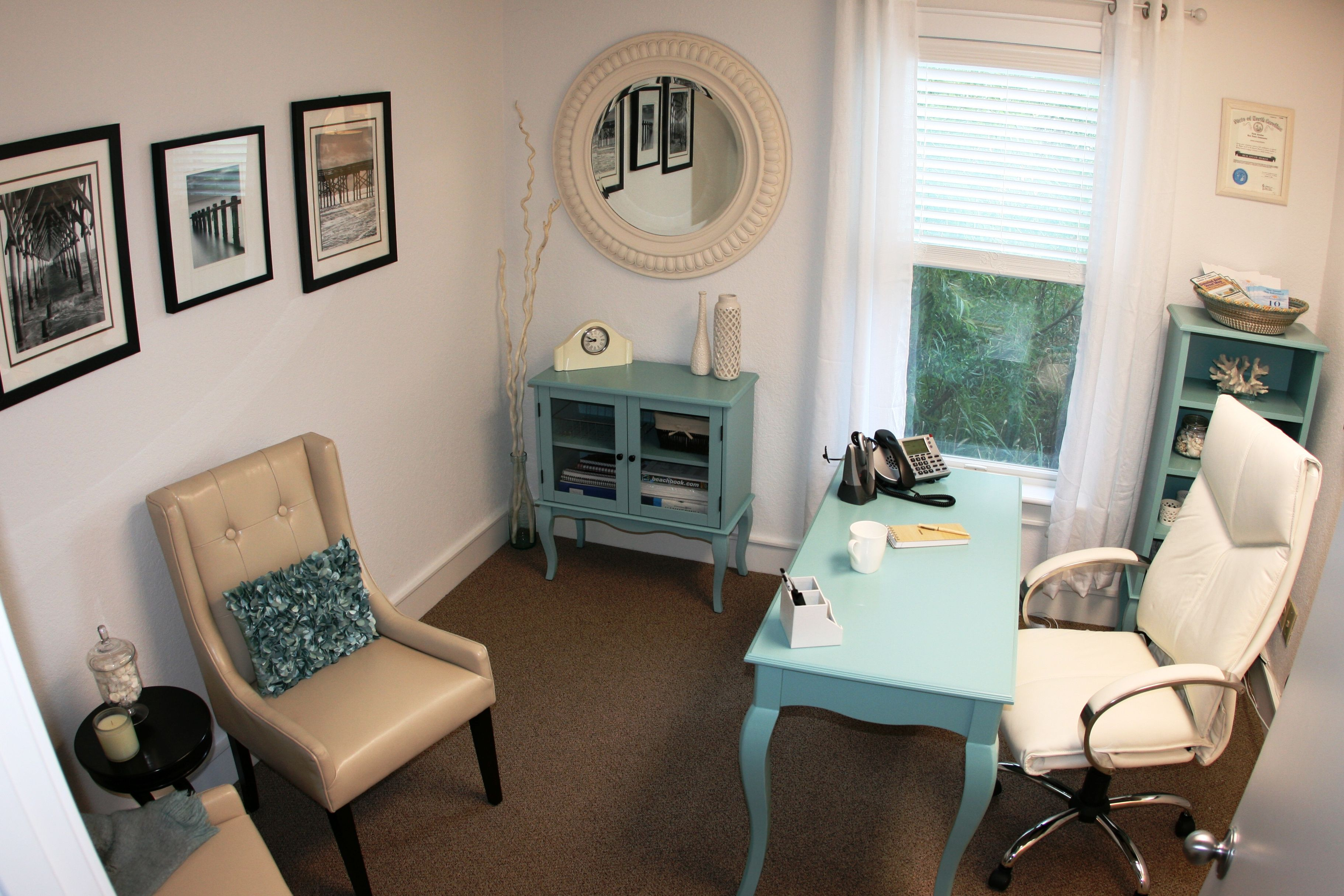 Traditional beach themed office redesign in Duck, NC. Blue, cream ...
