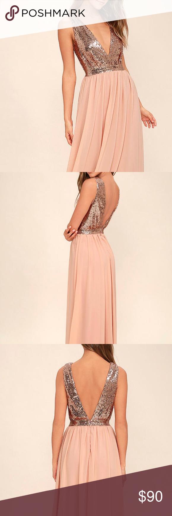 Nwt rose gold long dress nwt pinterest