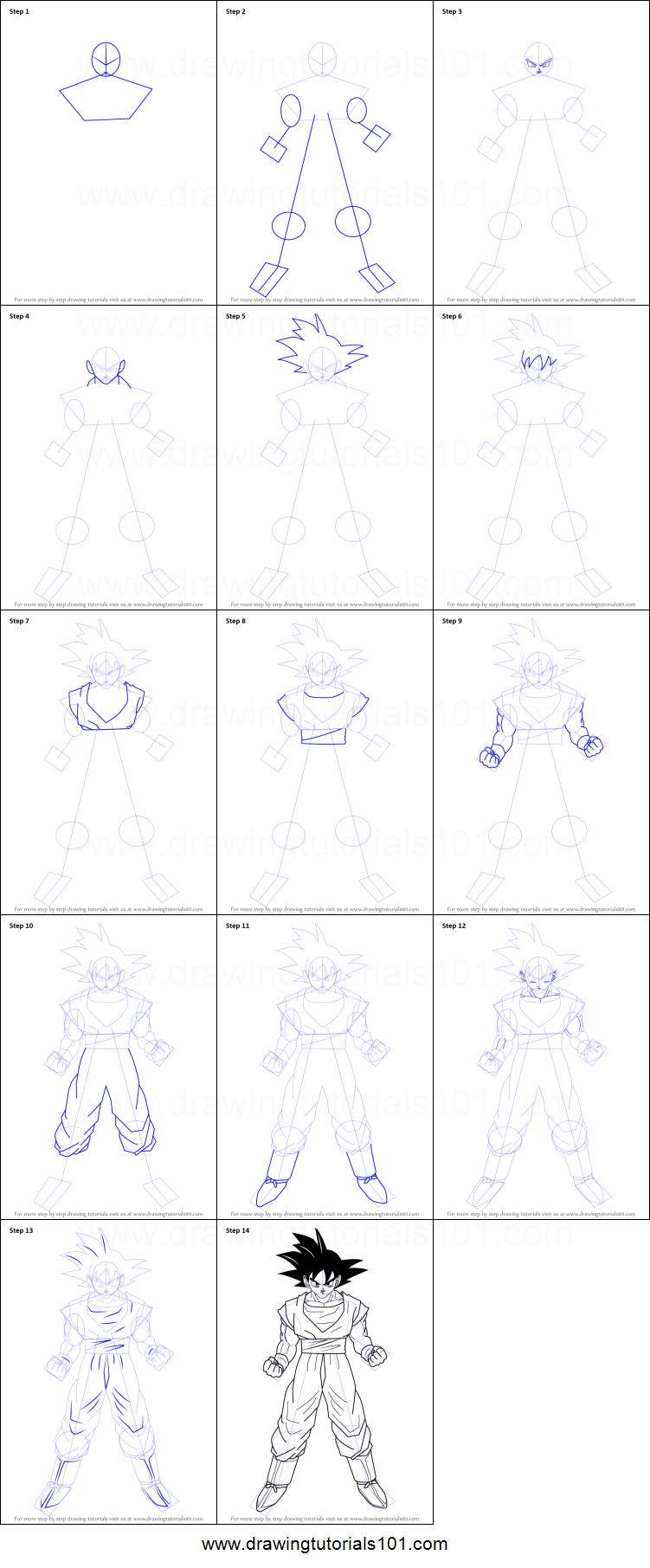 How To Draw Goku From Dragon Ball Z Printable Step By Step Drawing Sheet Drawingtutorials101 Com Goku Drawing Dragon Ball Dragon Ball Wallpapers