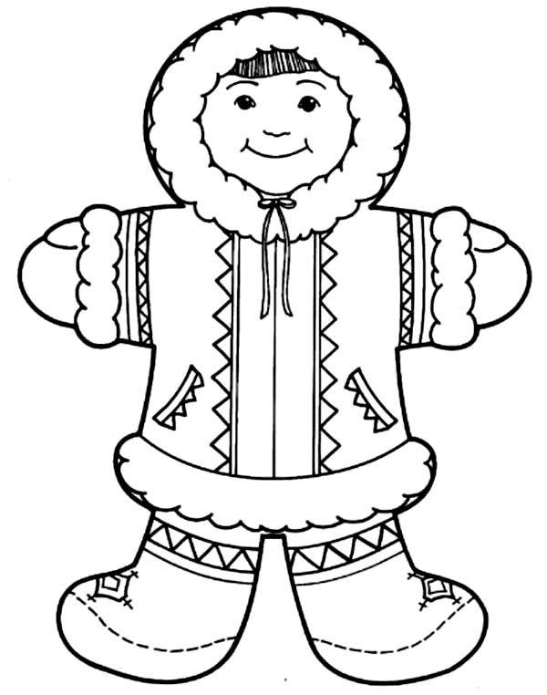 eskimo cute eskimo girl coloring page