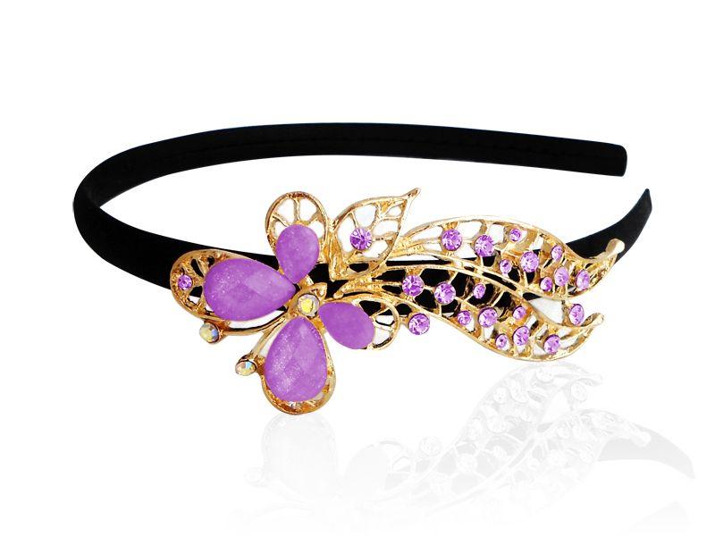 Diadema con adorno metalico con Pedreria en forma de Mariposa
