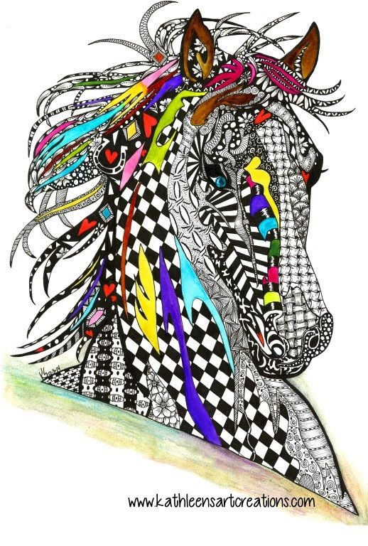 """Whimsical Zentangle® Inspired horse named """"Charlie"""" finished 12-3-14. A 12-pack of note cards are available for $23.00 with FREE shipping and handling. Prints, plates, mugs, mousepads, doggie tanks, coasters, checkbook covers, throw pillows  etc., also available."""