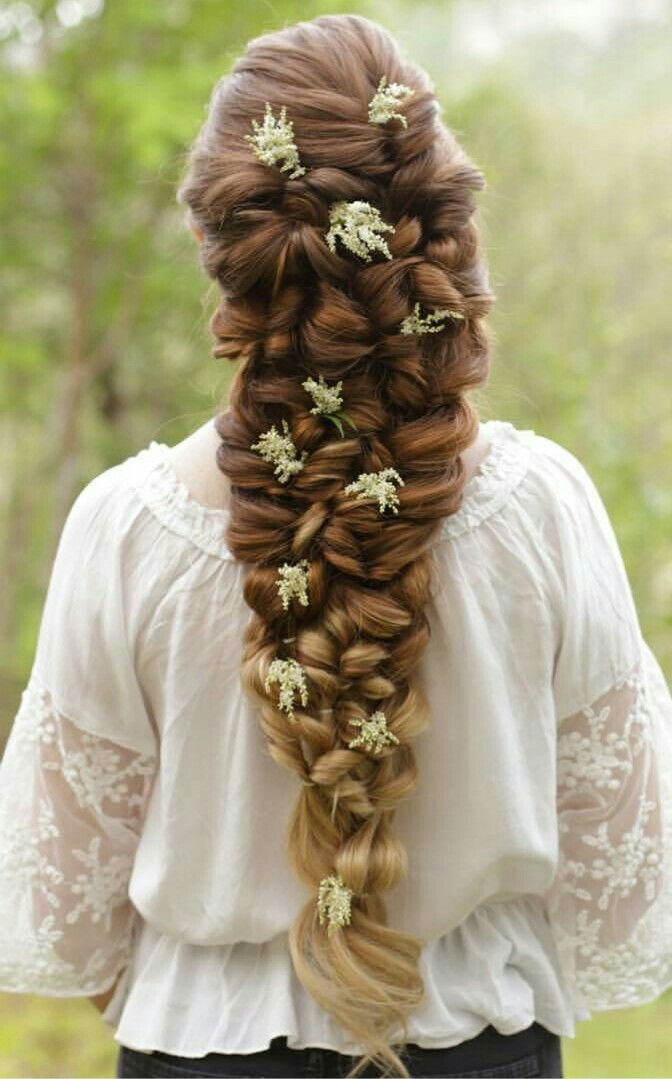 Medieval Inspired Braided Hairstyle With Flowers So