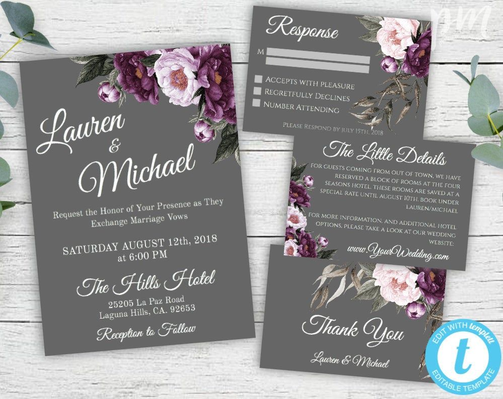 Purple And Gray Wedding Invitation Template Set Gray Wedding