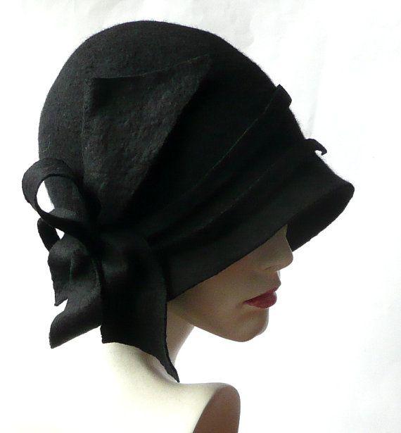 Millinery Black Hat,Black Felted Hat,Cloche Hat, Black cloche hat ...