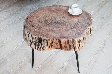 Rustikaler Couchtisch Goa 60cm Akazie Massivholz Dreibein Couchtisch Modern