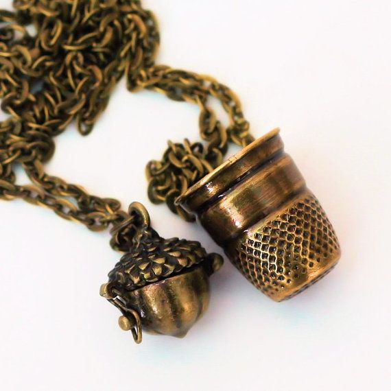 Thimble And Acorn Necklaces Peter Pan Jewelry Thimble Wendy Kiss