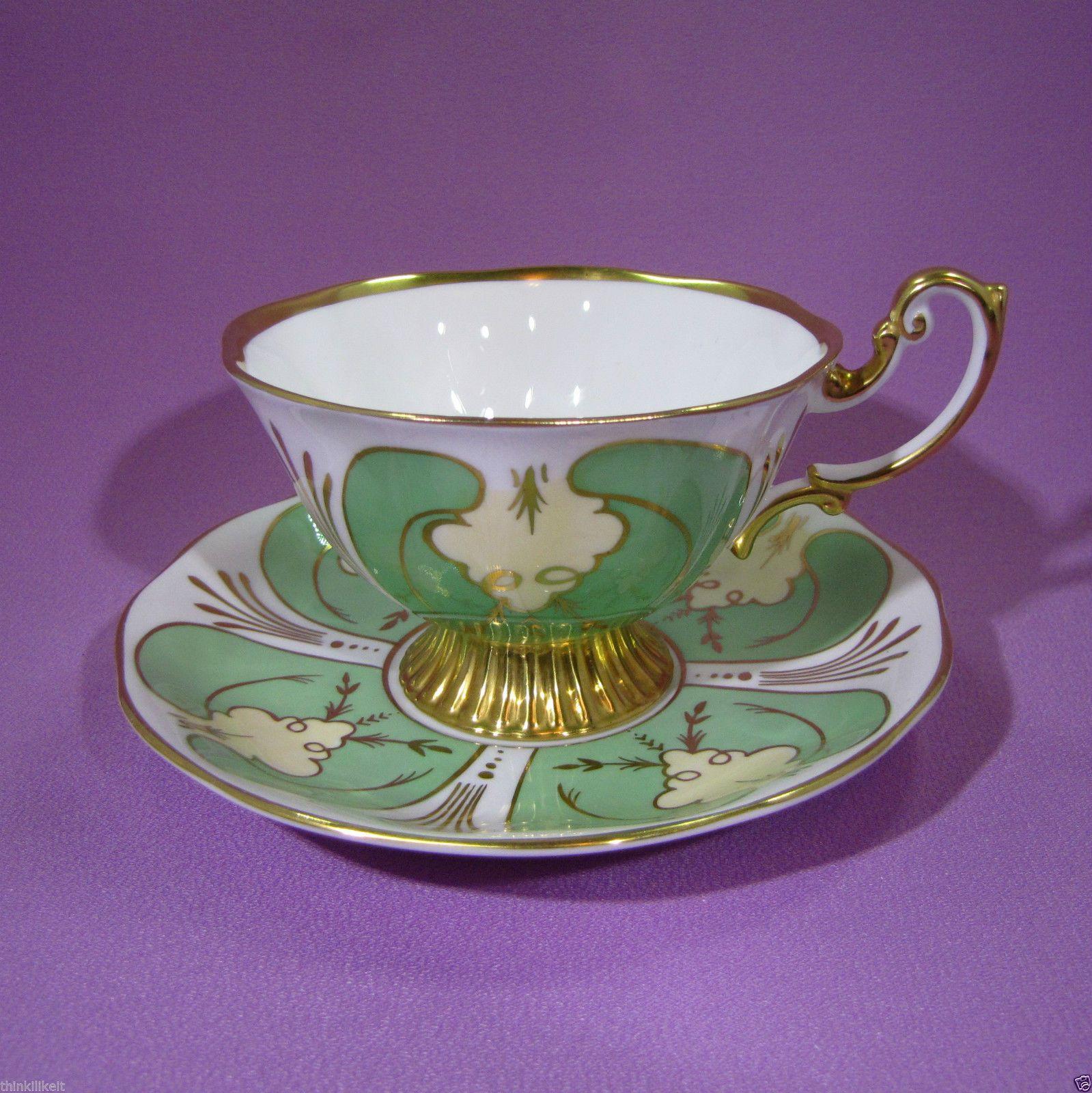 Royal albert bone china tea cup amp saucer winsome pattern ebay - Royal Albert Tea Cup Saucer Wide Avon Gold Ribbed Foot Green Gold Yellow