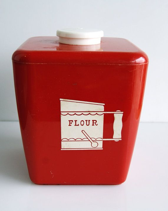 Etsy Transaction - Bright Red Plastic Flour Kitchen Canister ...