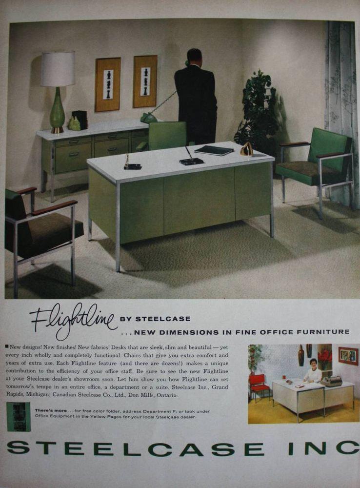 1961 Steelcase Inc 1960s Flightline Office Furniture Desk Chairs Print Ad Steelcaseinc