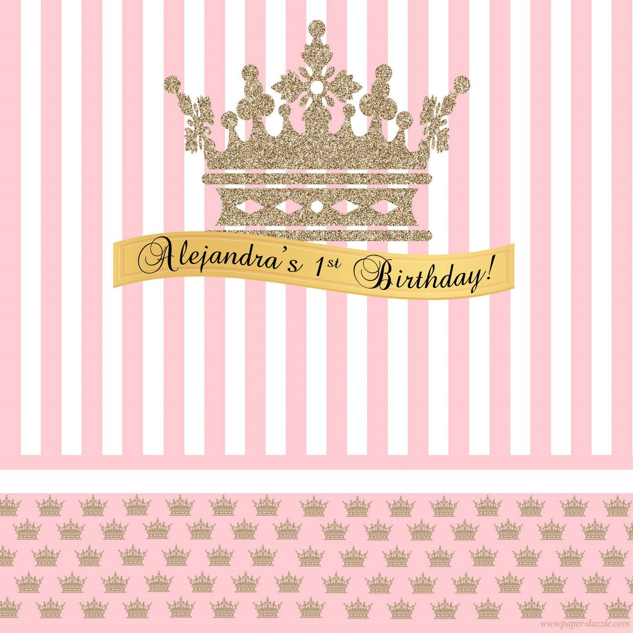 Girl Princess Happy Birthday backdrop Pink Stripes Crown Photography background