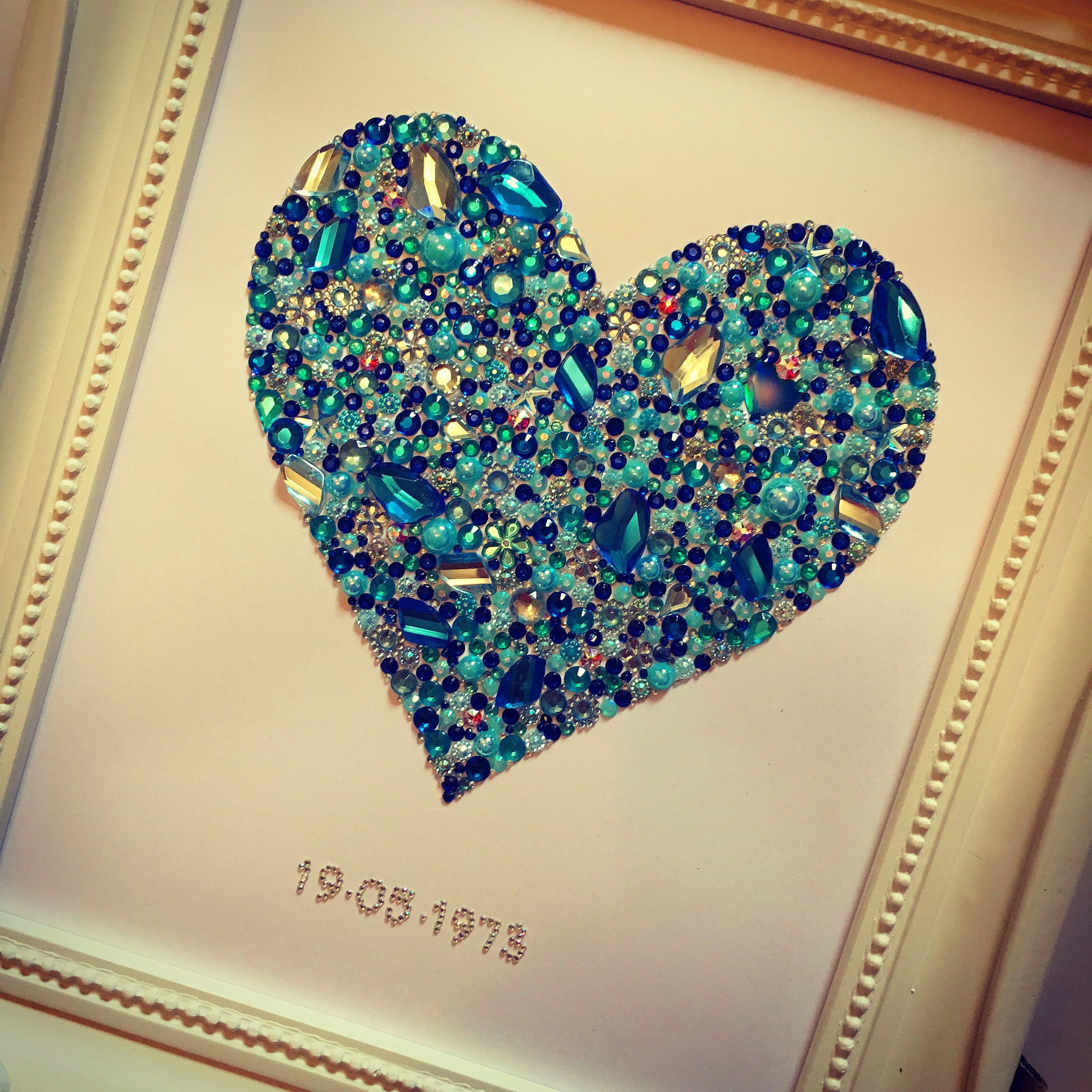 Wedding anniversary Swarovski crystal button heart