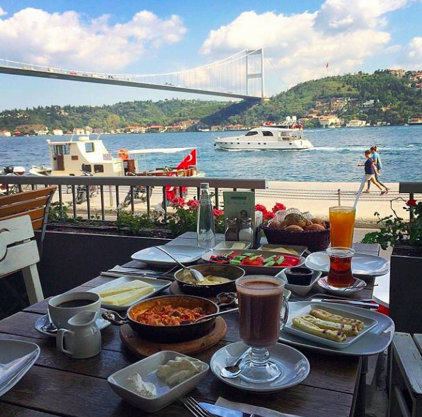 What could be better than staring out over the Bosphorus jam-packed with the delights of Turkish breakfast?