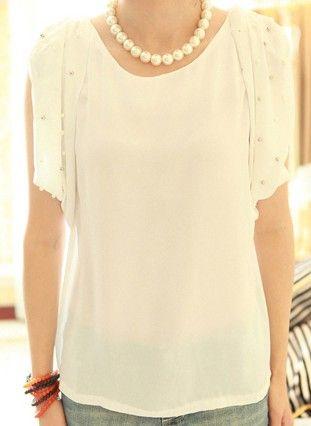 White Round Neck Short Sleeve Pearls Ruffles Loose Chiffon Shirt