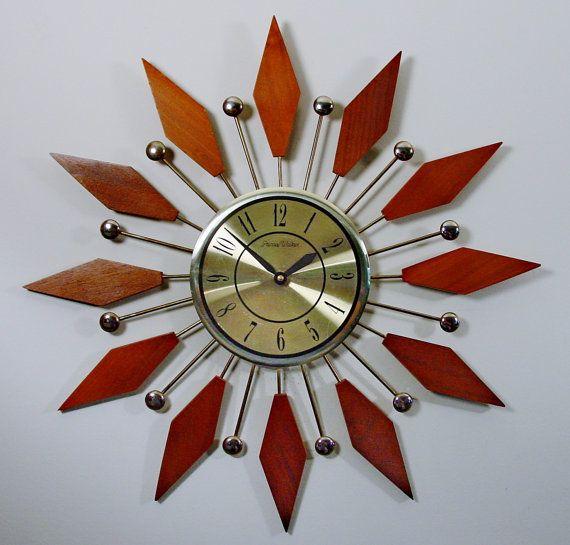 mid century modern starburst clock 1960s sunburst by clubmoderne