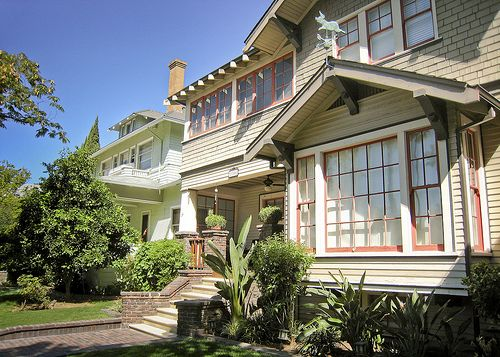 Mission Style Paint Colors | Craftsman Style Home With Pale Green And Rusty  Red Paint Colors. Craftsman Exterior ...