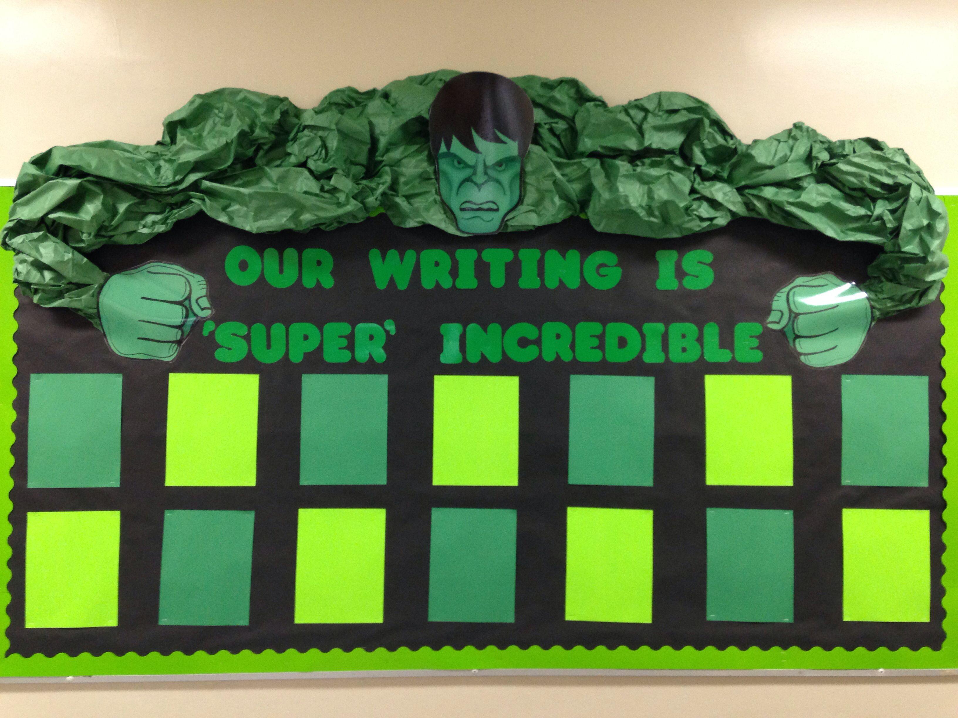 Marvel Classroom Decor : Incredible hulk super hero bulletin board