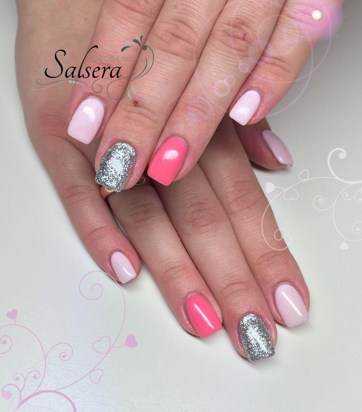 Nails, Bonbon, Nägel, Nageldesign, Silber Glitter, pink, Rosé ...