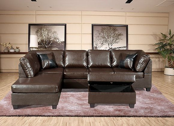 Excellent F22Br 3 Pc Aiden Brown Faux Leather Sectional Sofa With Gmtry Best Dining Table And Chair Ideas Images Gmtryco