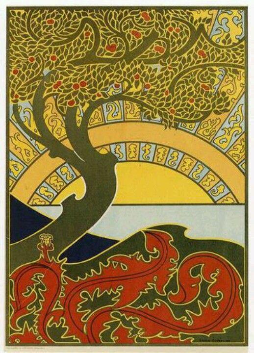 Art Nouveau Gisbert Combaz Peacock Bird  Counted Cross Stitch Chart Pattern
