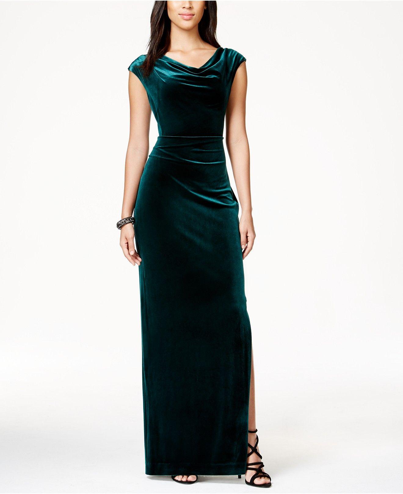 fb6dd6c0023d Vince Camuto Cowl-Neck Velvet Gown - Dresses - Women - Macy s ...