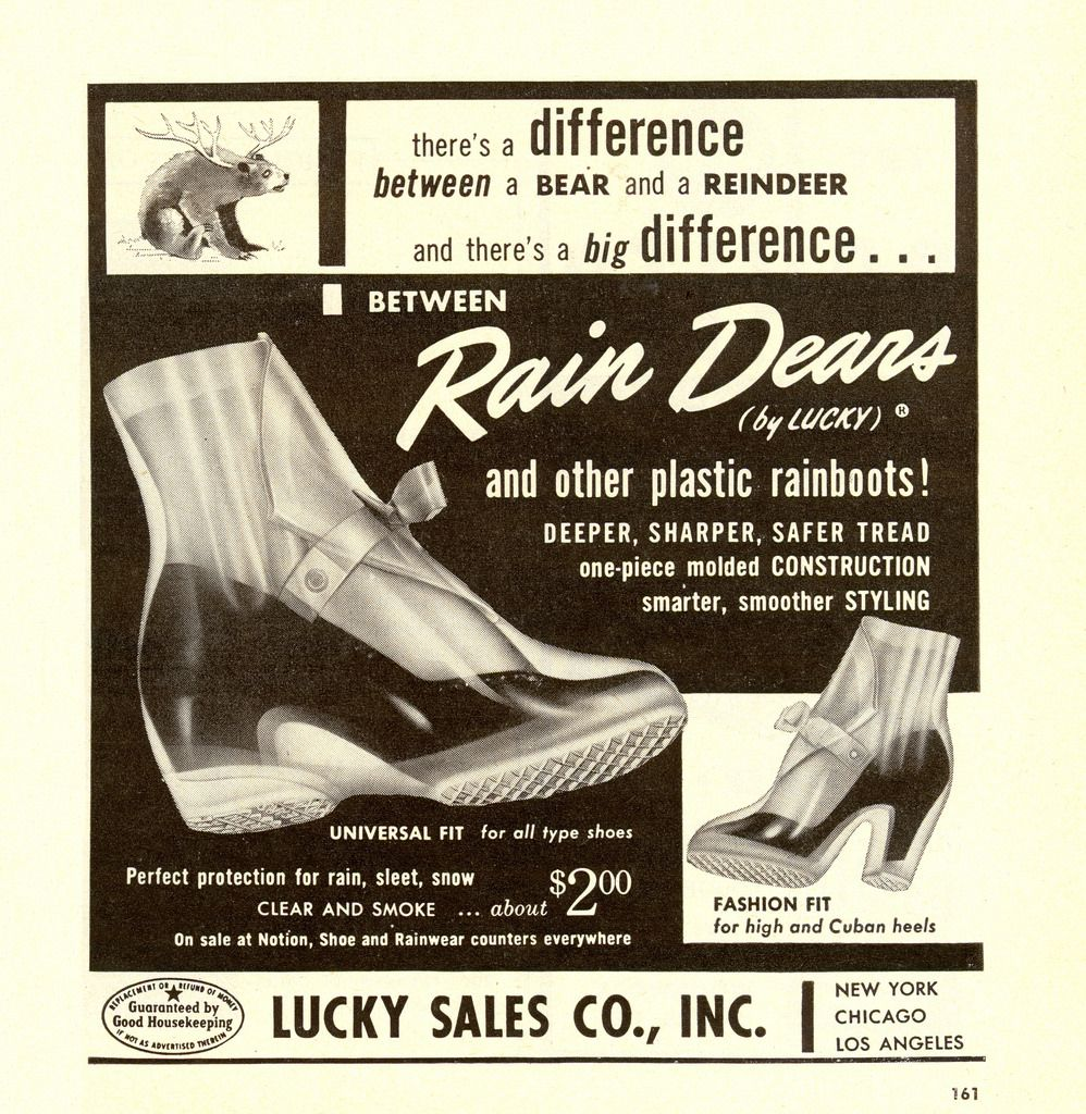 Womens day nov 1955 1950s and spring rain dears vintage overshoes ad 1955 spring shoes 1950s aiddatafo Choice Image