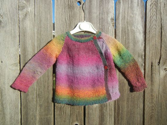 Knitting Jacket For Girl : Rainbow baby sweater wool cardigan multicolored girl s knit