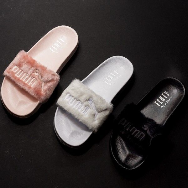 puma x fenty fur slides 80 each only shoes open flats pinterest claquettes chaussure. Black Bedroom Furniture Sets. Home Design Ideas